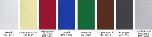 секционные ворота Алютех стандартные цвета